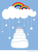 Birthday Cake with rainbow and star falling from white clouds — Stock Vector