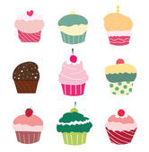 Set of 9 cute cupcakes — Stock Vector
