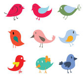Set of different cute birds — Stock Vector