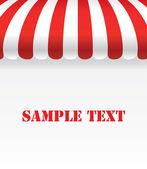 Rojo y blanco de la tira del toldo de la tienda con espacio — Vector de stock