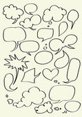 Set of hand drawn word bubbles for text insertion — Stock Vector