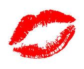 Beso de labios en blanco — Vector de stock