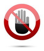 No entry hand sign on white — Stock Vector