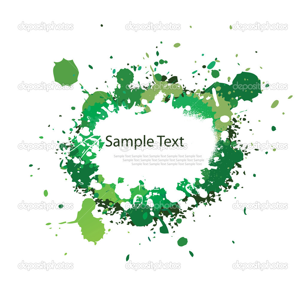 Green tone ink splash on white — Stock Vector #11947044