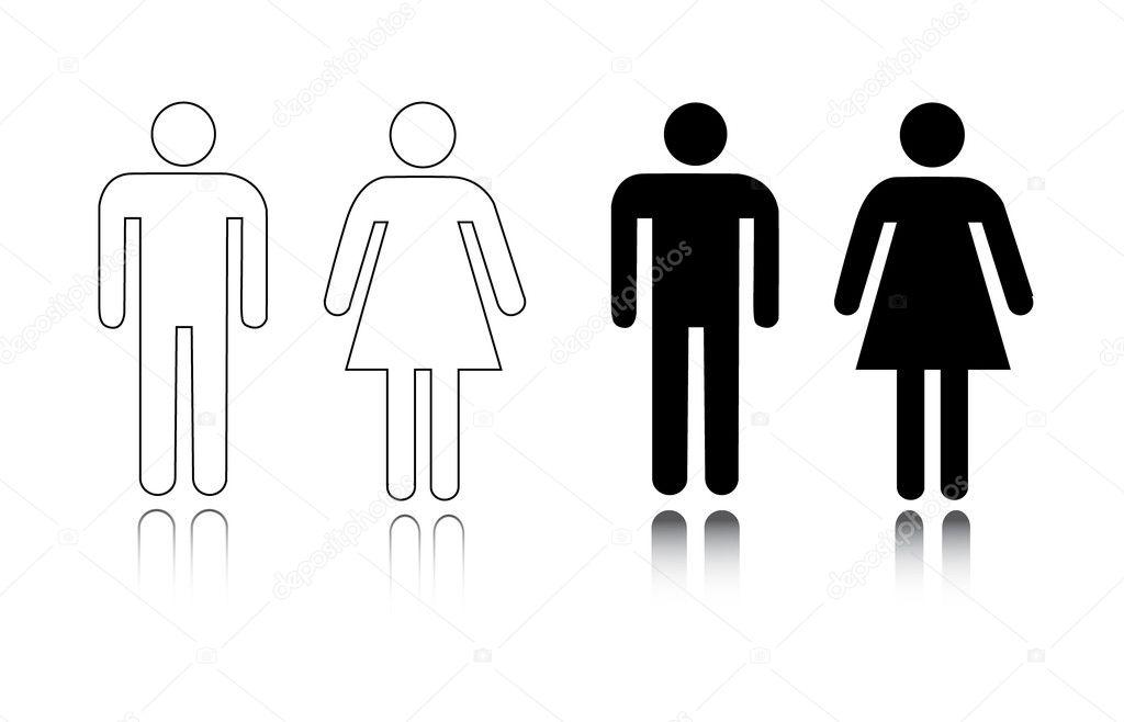 Ícone de banheiro masculino e feminino — Vetor de Stock © pockygallery #11947048 # Simbolo Banheiro Feminino E Masculino