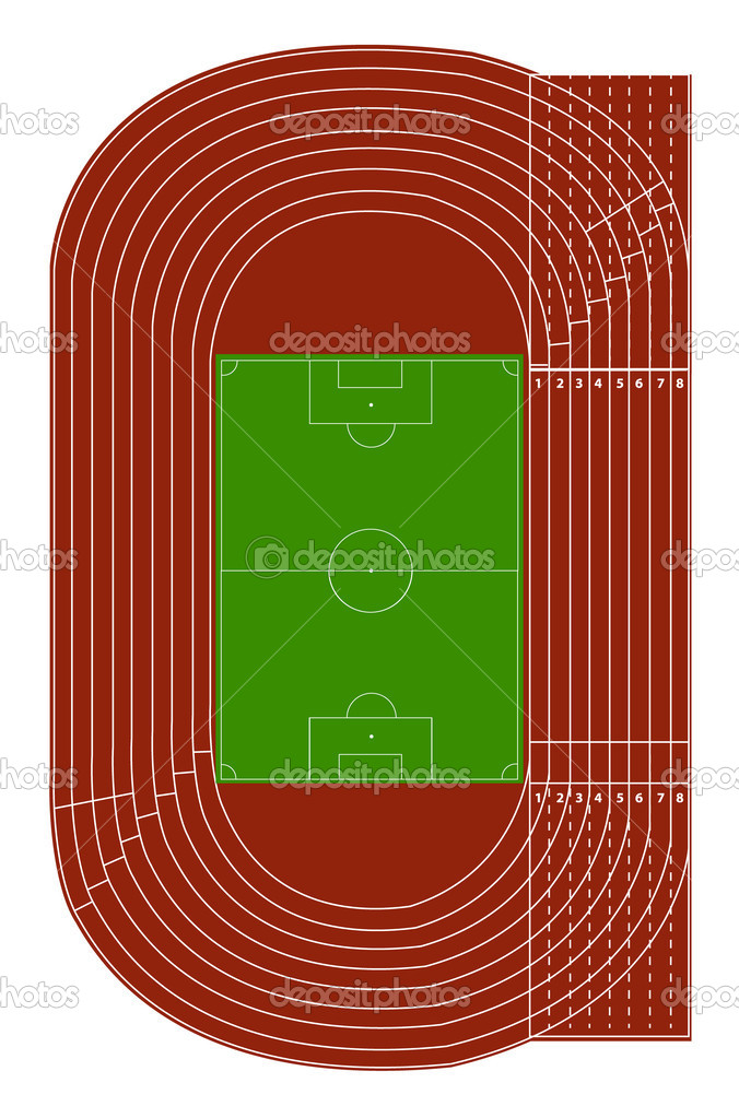 top view of running track and soccer field  u2014 stock vector  u00a9 pockygallery  11947395