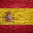 Spain flag painted on old brick wall — Foto de Stock
