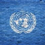 eski tuğla duvara boyalı Birleşmiş Milletler bayrağı — Stok fotoğraf #11950962