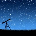 Telescope on the grass Under the Stars — Stock Photo