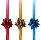 Red Gold Blue Christmas Ribbon Gift — Stock Photo