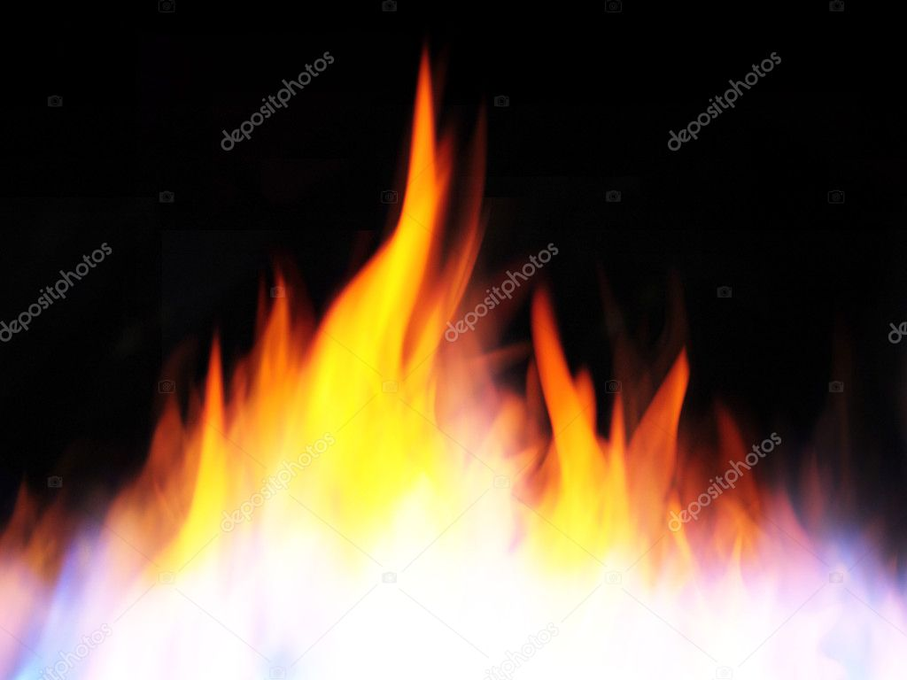 Fire and flames on black background — Stock Photo #11985628