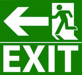 Green exit emergency sign — Stock Vector
