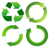 Set di freccia verde riciclo — Vettoriale Stock