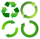 Set of green recycle arrow — Stockvektor