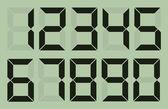 Set of gray digital number on light green — Stock Vector