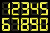 Set of yellow digital number — Stock Vector
