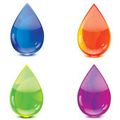 Blue orange green purple drops icon set — Stock Vector
