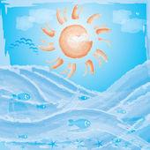 Vector summer ocean background — Stock Vector