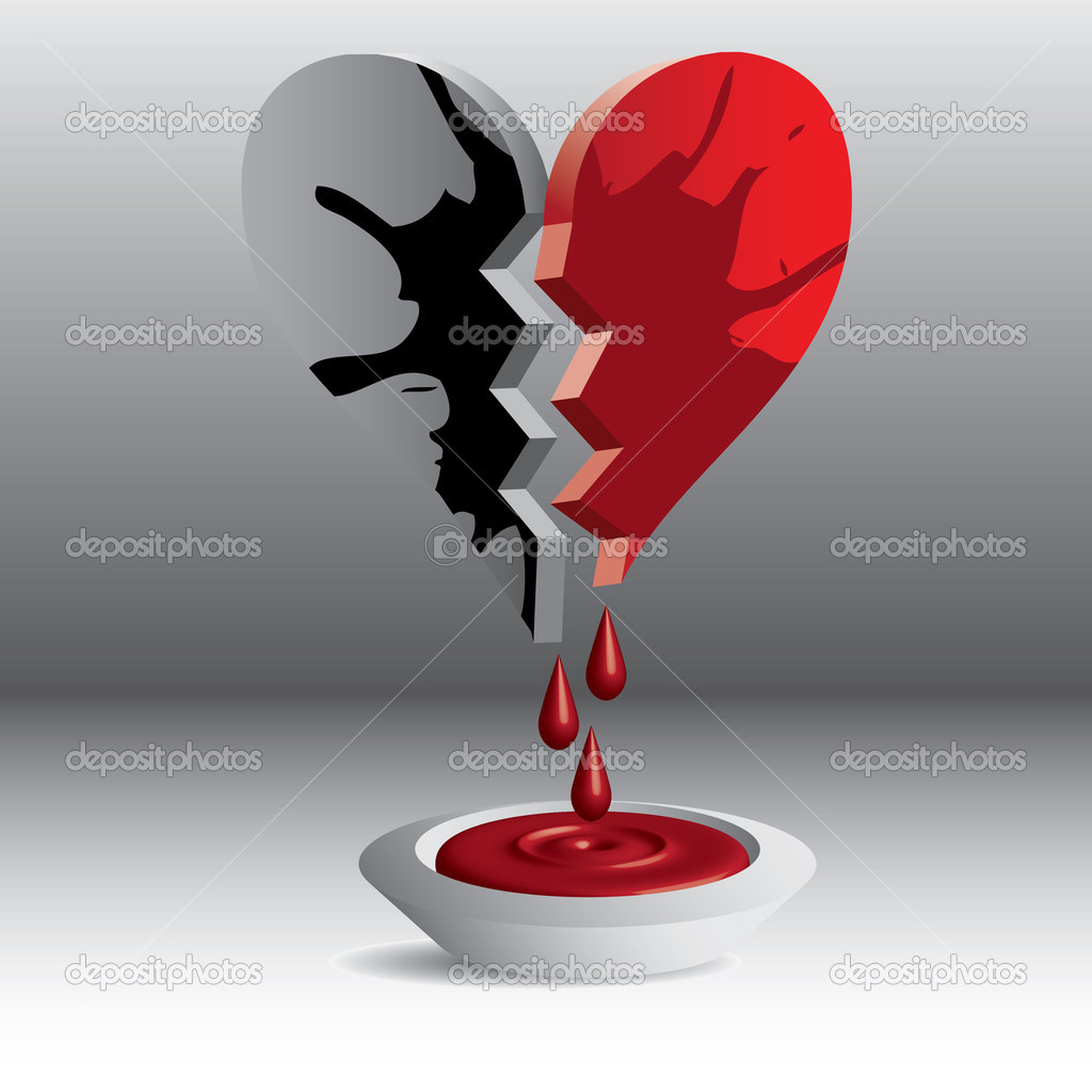 3D broken heart illustration blood — Stock Vector #10934025
