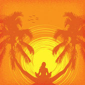 Summer tropical background with a girl in yoga — Stock Vector