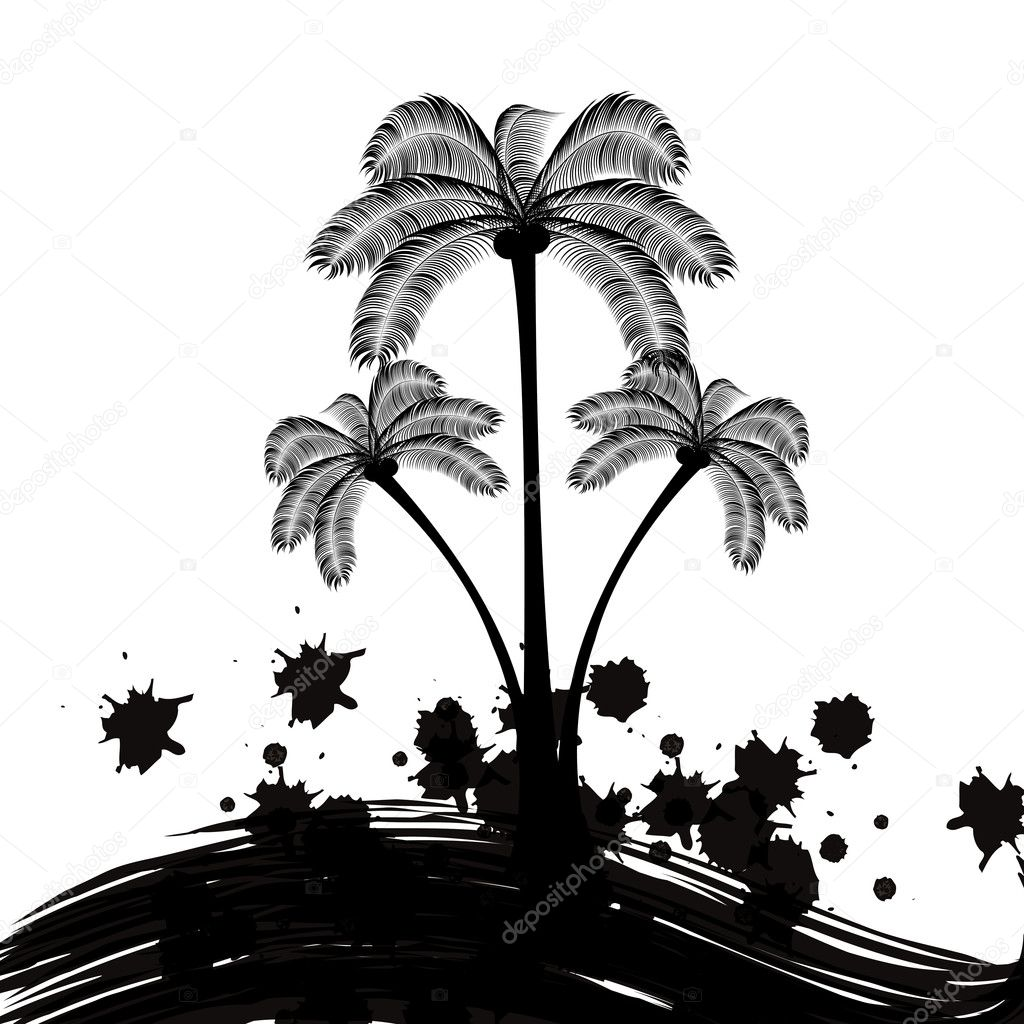 Palm tree logo black and white — Stock Vector #11341763