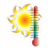 Heat alert illustration with sun — Stock Vector