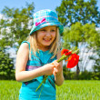 Young blond girl with red flowers — Stock Photo #11096420