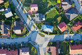 Aerial view of city suburbs — Foto Stock