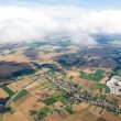 Aerial view of village landscape - Stock Photo