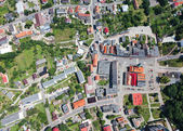 Aerial view of town center — Stok fotoğraf