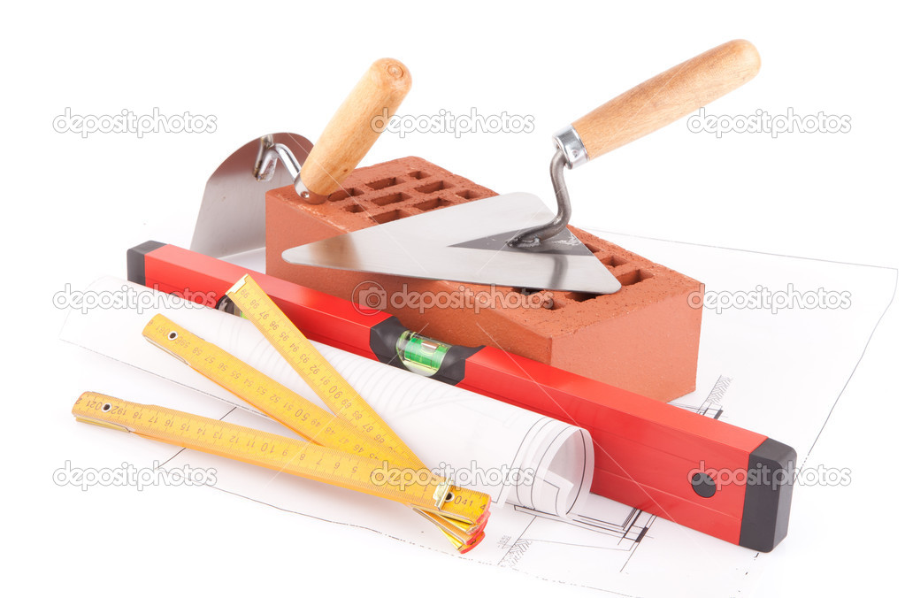 Mason tools and bricks isolated on white background — Stock Photo #11152696
