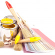 Paint brushes and color guide — Stock Photo