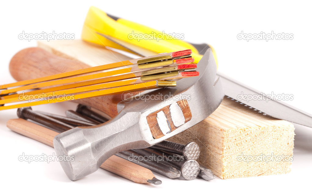 Carpenter  equipment , tools isolated on white background — Stock Photo #11507194
