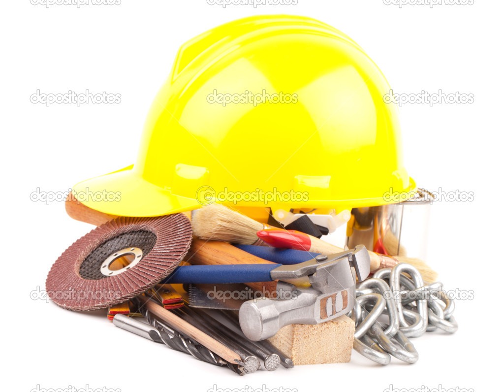Carpenter  equipment , tools isolated on white background — Stock Photo #11507291