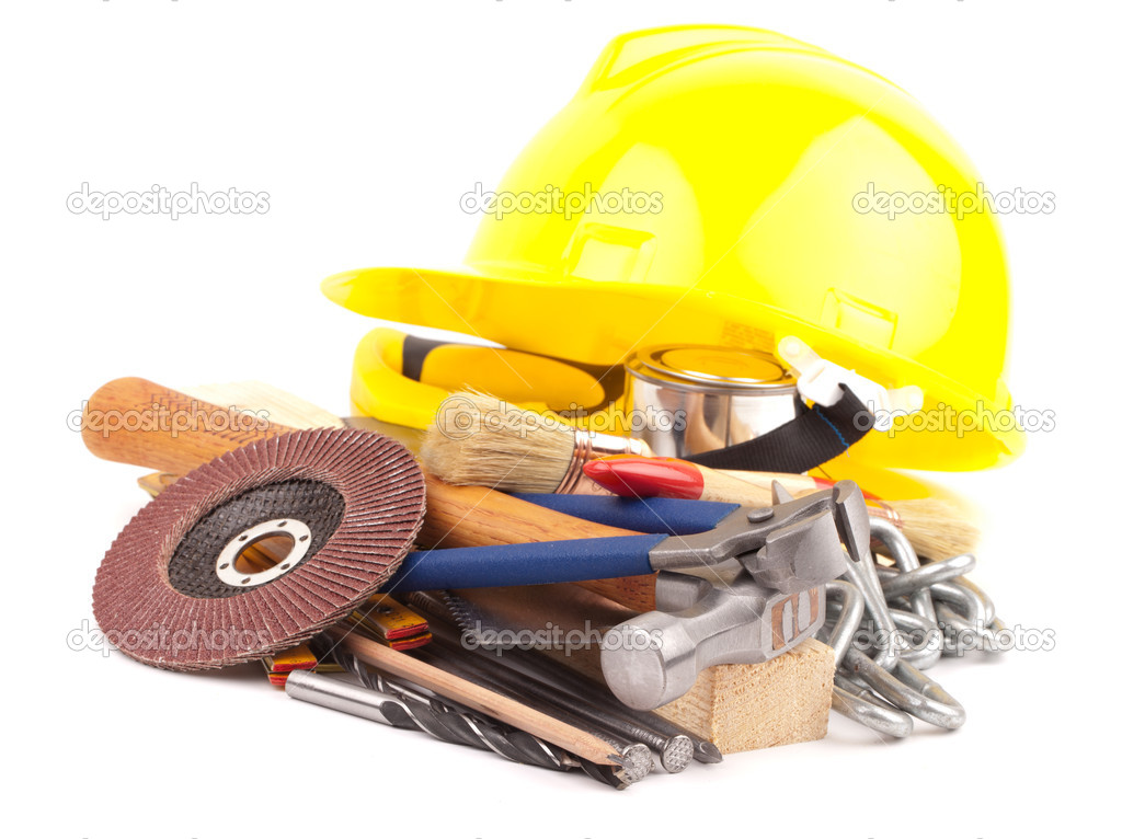Carpenter  equipment , tools isolated on white background — Stock Photo #11507297