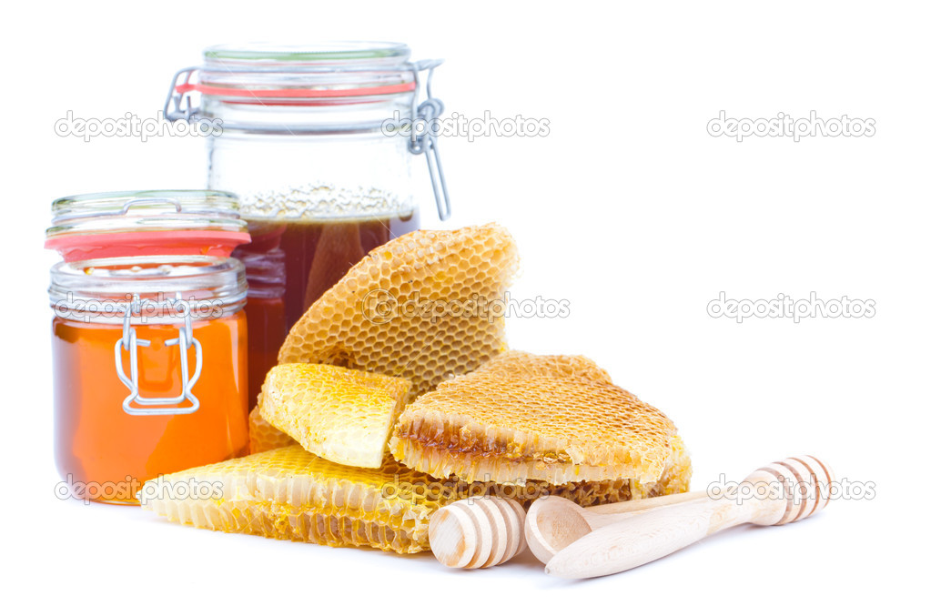 Honey jar and honeycomb isolated on white background  Stock Photo #11564029