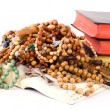 Rosary and holy books — Stock Photo