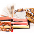 Rosary and books — Stock Photo