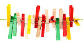 Clothes pins on string — Stock Photo