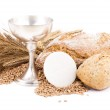 Symbol of Christianity, bread and wine in cup — Stock Photo