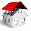 House with red roof — Stock Photo