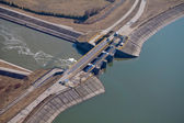 Aerial view of dam near nysa — Foto Stock
