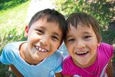 Two happy children — Stock Photo