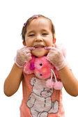 一个小女孩在粉红色的裙子汉明 — 图库照片
