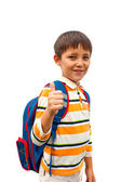 Boy with a backpack on his back — Stock Photo