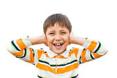 The boy shouts hands covering her ears — Stock Photo