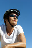 Confident and happy healthy mature female cyclist — Stock Photo