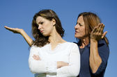 Family argument, mother and daughter disputing — Stock Photo