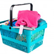 Shopping basket with clothes — Stock Photo