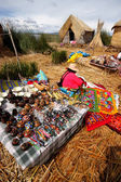 Colorful craft market on floating islands Uros, Bolivia. — Stock Photo